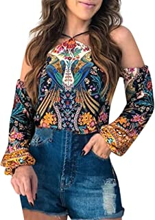 Winsummer Womens Boho V Neck Printed Blouse Casual Plus Size Hippie Top Blouses Loose Long Bat Sleeve Shirts Tops