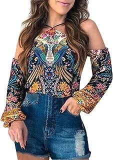 Loosebee◕‿◕ Women Summer Casual V-Neck Floral Print Long Sleeve Lantern Sleeve Boho Top Blouse T Shirt