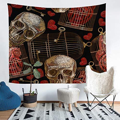 Tapiz de esqueleto para colgar en la pared para niños y niñas clásicos, diseño gótico, bordado de calavera, decoración de pared para dormitorio, sala de estar, tamaño mediano 51 x 59 pulgadas