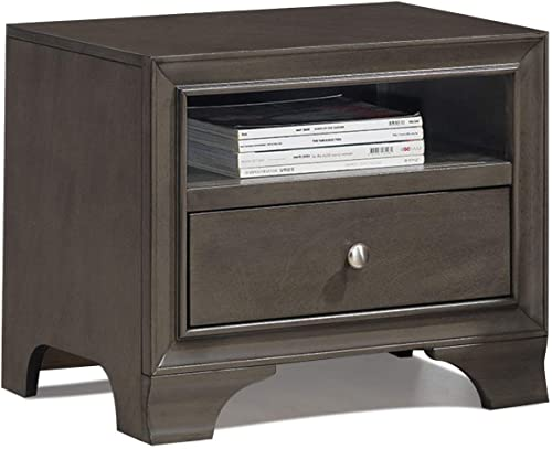popular Giantex Wooden Nightstand W/One Drawer and one Shelf and USB Port Charging Home popular Furniture for Bedroom Side End Table 2021 (Gray) outlet online sale