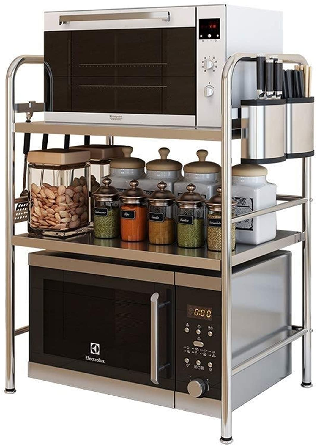 Storage Rack- 304 Stainless Steel Kitchen Rack Microwave Oven Rack Household Oven Rack 3 Layer Multi-Function Storage Floor Rack ZXMDMZ (Size   Small)