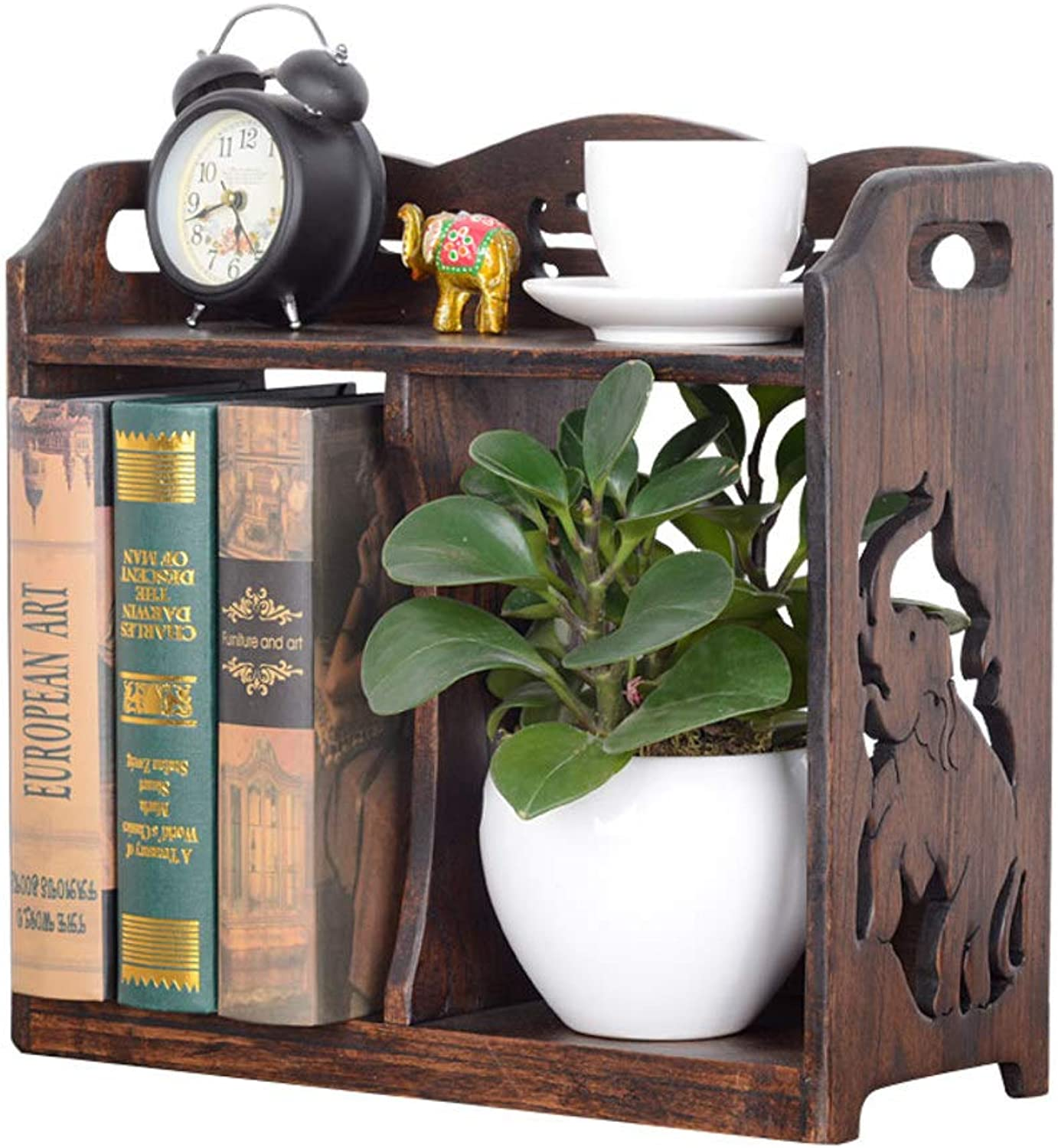Retro Creative Solid Wood Table Bookshelf, Industrial Style Simple Bookcases Wood Shelves Office Storage Rack-A