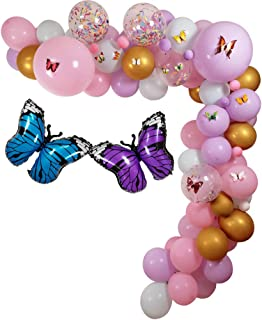 """100 Pack Butterfly Party Decoration Garland Kit, 18"""" 10"""" 5"""" Mylar Balloon Latex Balloons Birthday Wishes and Butterfly Kis..."""