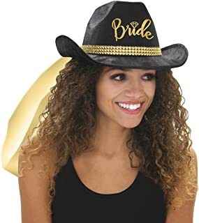 Country Western Bride Black Cowboy Hat with Veil - Cowgirl Bachelorette Supplies