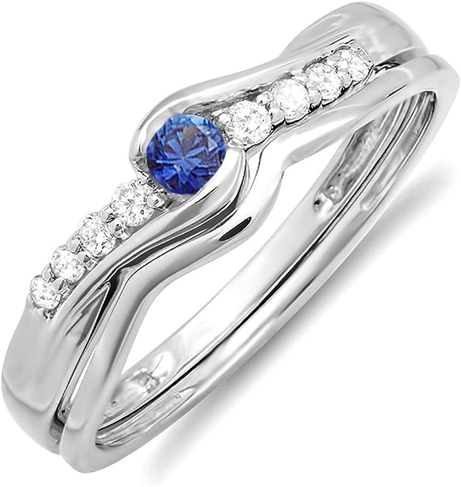 Dazzlingrock Collection 14K Round Blue Sapphire And White Diamond Ladies Bridal Promise Engagement Wedding Band Set, White Gold