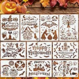 Malier 10 PCS Halloween Painting Stencils, Reusable Plastic Stencil for Painting on Wood, Creative Patterns DIY Drawing Template Pumpkin Bat Decoration Crafts Stencils Perfect for Halloween Party