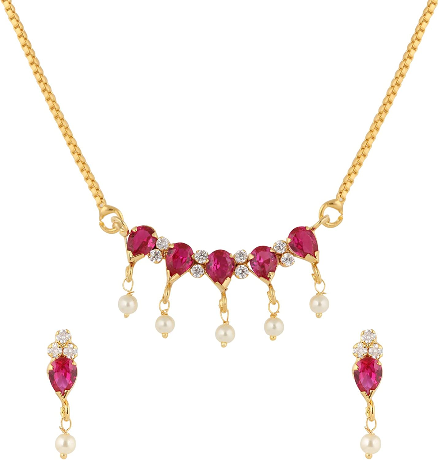 Efulgenz Indian Pink Traditional Pendant Necklace with Chain and Earrings Jewelry for Women
