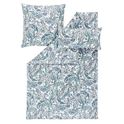 ESTELLA Ropa de cama Ariana   Indigo   155 x 220 + 80 x 80 + 40 x 80 cm   satén Mako con brillo sedoso   apto para secadora   transpirable y suave   100% algodón
