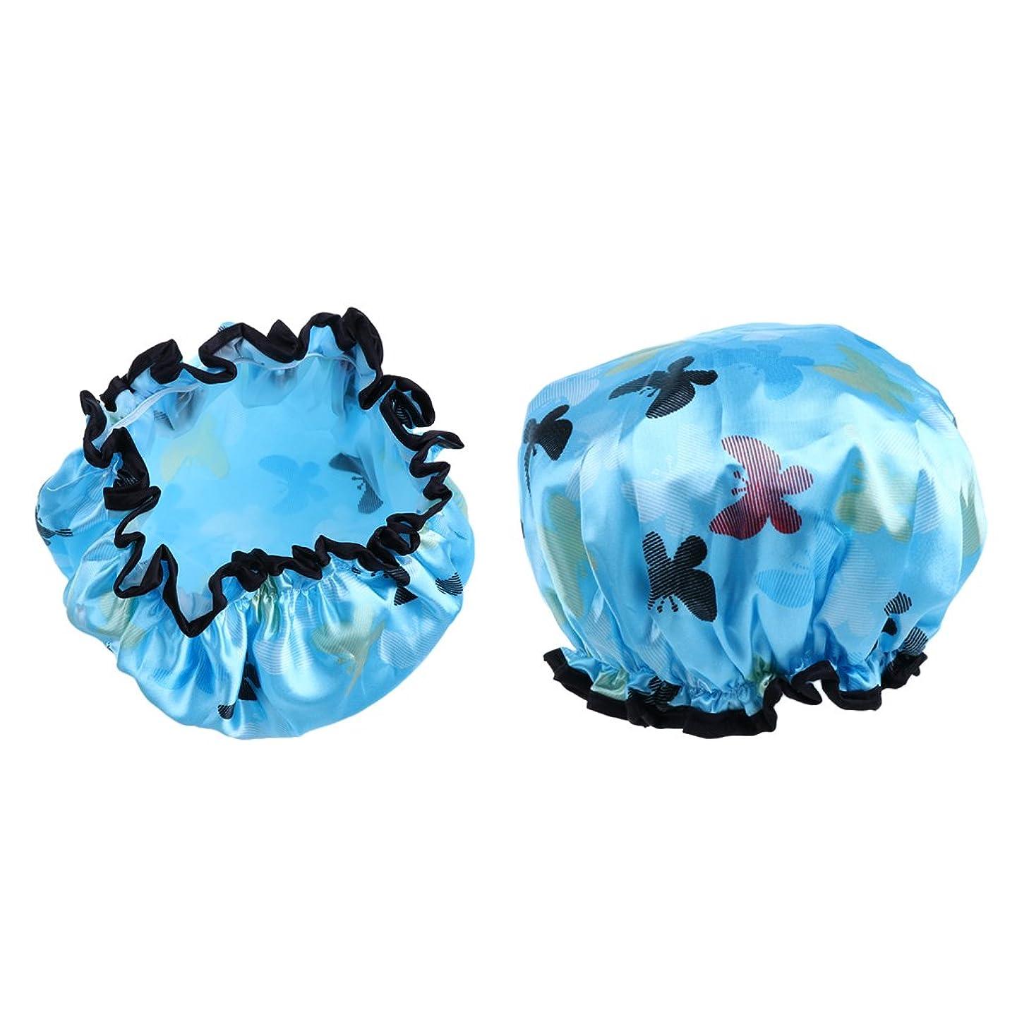 流出スキーム絞る2個 シャワーキャップ 女性 防水 再利用可 シャワー キャップ バス帽子 7色選べる - ライトブルー