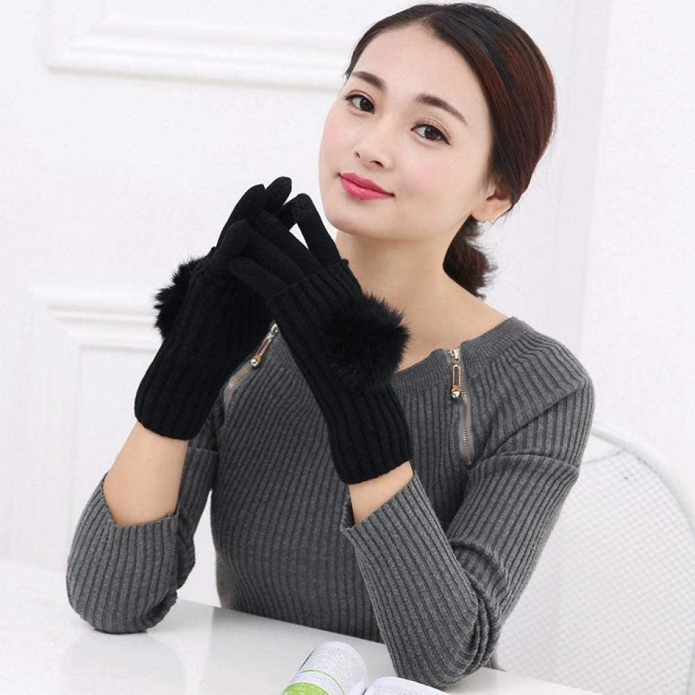 Women's Cold Weather Gloves Rabbit hair ball touch screen knitting two-piece full finger half finger