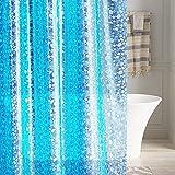 LEMON CLOUD Cortina Baño, Impermeable, Antimoho, Antibacteriano 183x183cm ( 3D Azul PEVA Guijarro Transparente)