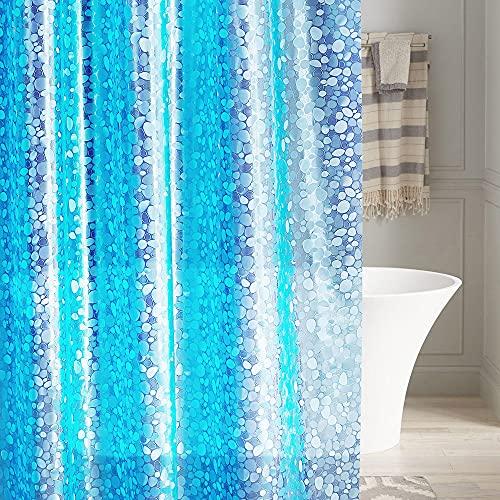 LEMON CLOUD Duschvorhänge PEVA Wasserdichter Badvorhang Liner 3D-Effekt Blauer Kieselstein Schwerer Duschvorhang mit 3 Magneten, schimmelresistente Badevorhänge mit 12 Haken, 183 x 183 cm