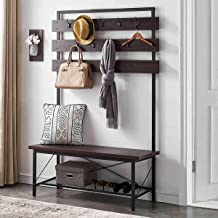 FELLYTN Industrial Hall Tree for Entryway, Wood and Metal Coat Rack with Shoe Bench, Storage Shelf Organizer, Accent Furni...