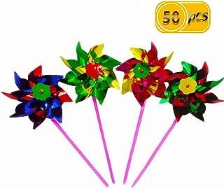 50PCS TKOnline Paradise Party Pinwheels, Amazing Party, Beach and Backyard Pinwheels, Multi Bright Colors.