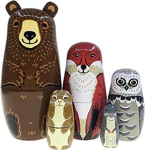 Alrsodl Wooden Nesting Doll Matryoshka Russian Doll Cartoon Brown Bear Fox Owl Rabbit Raccoon Handmade Stacking Toy Set 5 Pieces for Kids Girl Home Decoration