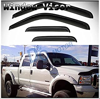 D&O MOTOR 4pcs Front+Rear Smoke Sun/Rain Guard Wind Deflector Outside Mount Tape-On Window Visors for 99-16 Ford F250/F350/F450/F550 Super Duty Supercrew/Crew Cab with 4 Full Size Doors