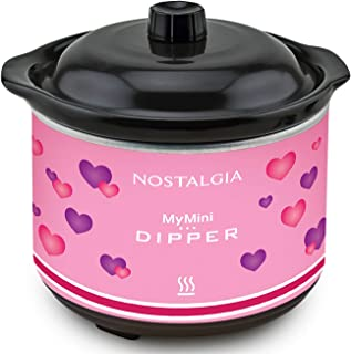Nostalgia MyMini Chocolate dipping pot with dipping forks Valentine's gift fondue pot (Pink)