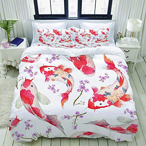 Nonun Duvet Cover,Watercolor Oriental Pattern with Rainbow carps,Bedding Set Ultra Comfy Lightweight Polyster Quilt Cover Sets