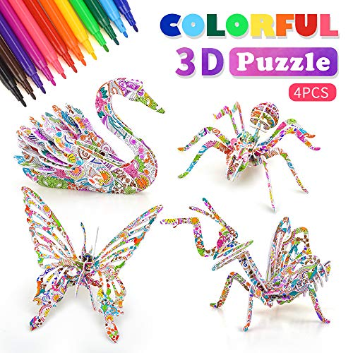 Art and Crafts for Girls Kids, Girls Toy Age 4 5 6 7 8 3D Puzzle Toys for Kids Crafts Art Kits for Kids 9-12 Year Old Girl Boys Art Supplies for Kids Gift for 6-8 Year Old Toddlers Child Birthday Gift