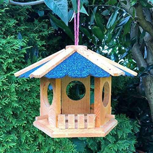 Darlux Vogel Futter Haus Futterstelle Sechseck aus Holz Vogelhaus zum Hängen Braun/Blau