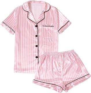 Sponsored Ad - LYANER Women's Striped Silky Satin Pajamas Short Sleeve Top with Shorts Sleepwear PJ Set