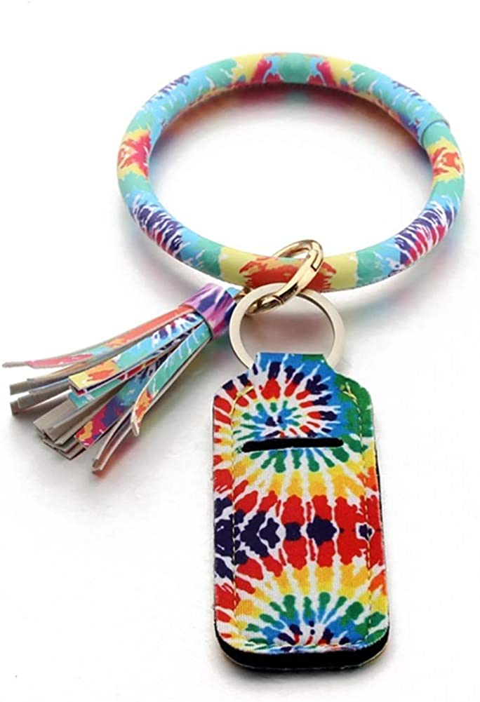 Tye-Dye Leather Key Ring Bracelet Keychain for Women Wristlet with Circle Keyring and Neoprene Chapstick Lipstick Holder by Jackson and Co.…