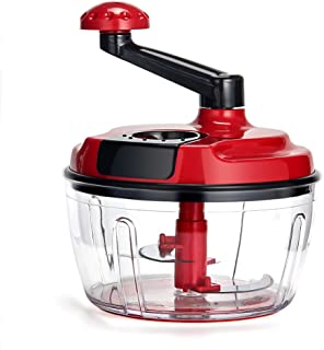 Momugs 8 Cup Red Food Processor, Manual Hand-powered Crank Large Chopper Mincer Blender Mixer Cutter with Clear Container for Baby Kids Toddler to Chop Meat Fruits Vegetables Nuts Herbs Onions Garlics