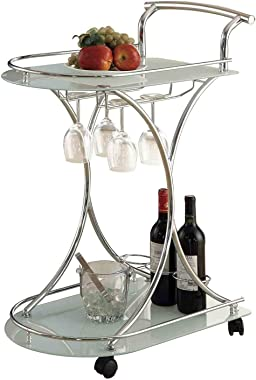 Coaster Home Furnishings Chrome and White Serving Cart with 2 Frosted Glass Shelves, Chrome & White