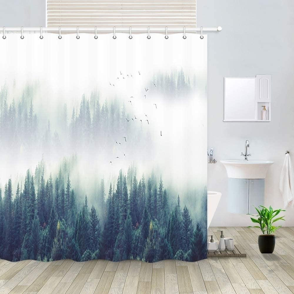 MISC Polyester Bargain sale Shower Curtain with Hooks Forest Clearance SALE! Limited time! Blue 72