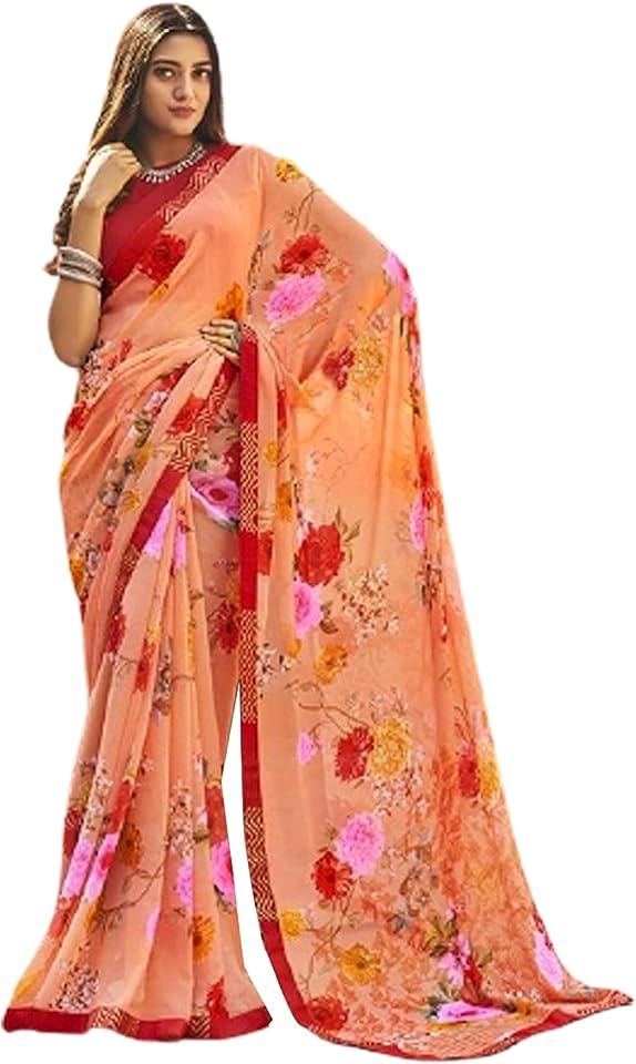 PEACH Indian Woman fancy Printed Georgette Sari Designer Summer Soft Saree Contrast Blouse 6221