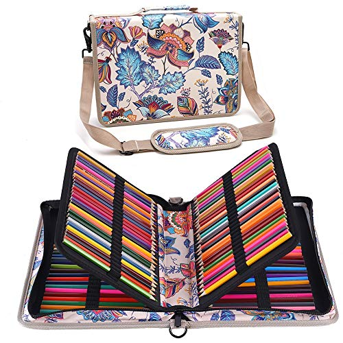 Shulaner 160 Slots Pencil Case Vintage Colored Pencils Holder Large Capacity Portable Pencil Bag Organizer (Retro-Flower, 160)