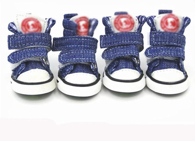 AUSWIEI Pet Dog shoes Plain Denim Pet shoes Dog Cowboy shoes Pet shoes (color   bluee, Size   3 )
