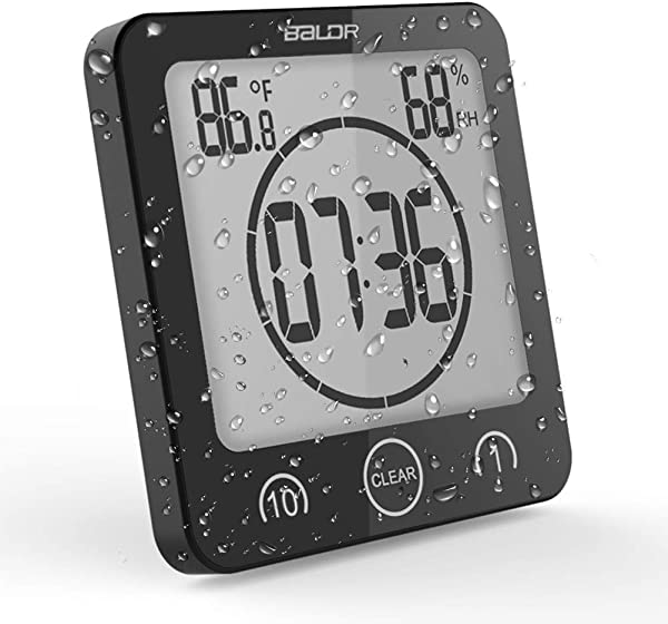 OCEST Digital Bathroom Shower Kitchen Clock Timer With Alarm Temperature Humidity Waterproof Touch Screen Timer Large Number Display With Suction Cup Hanging Wall Clock Shelf Clock Black