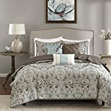 Madison Park MP13-1679 Geneva 6 Piece Quilted Coverlet Set, King/Cal King, Brown