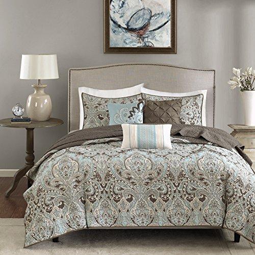 Madison Park Quilt Set Traditional Damask Design, All Season, Lightweight Coverlet Bedspread Bedding Set, Matching Shams, Pillows, King/Cal King(104'x94'), Geneva, Brown/Blue 6 Piece