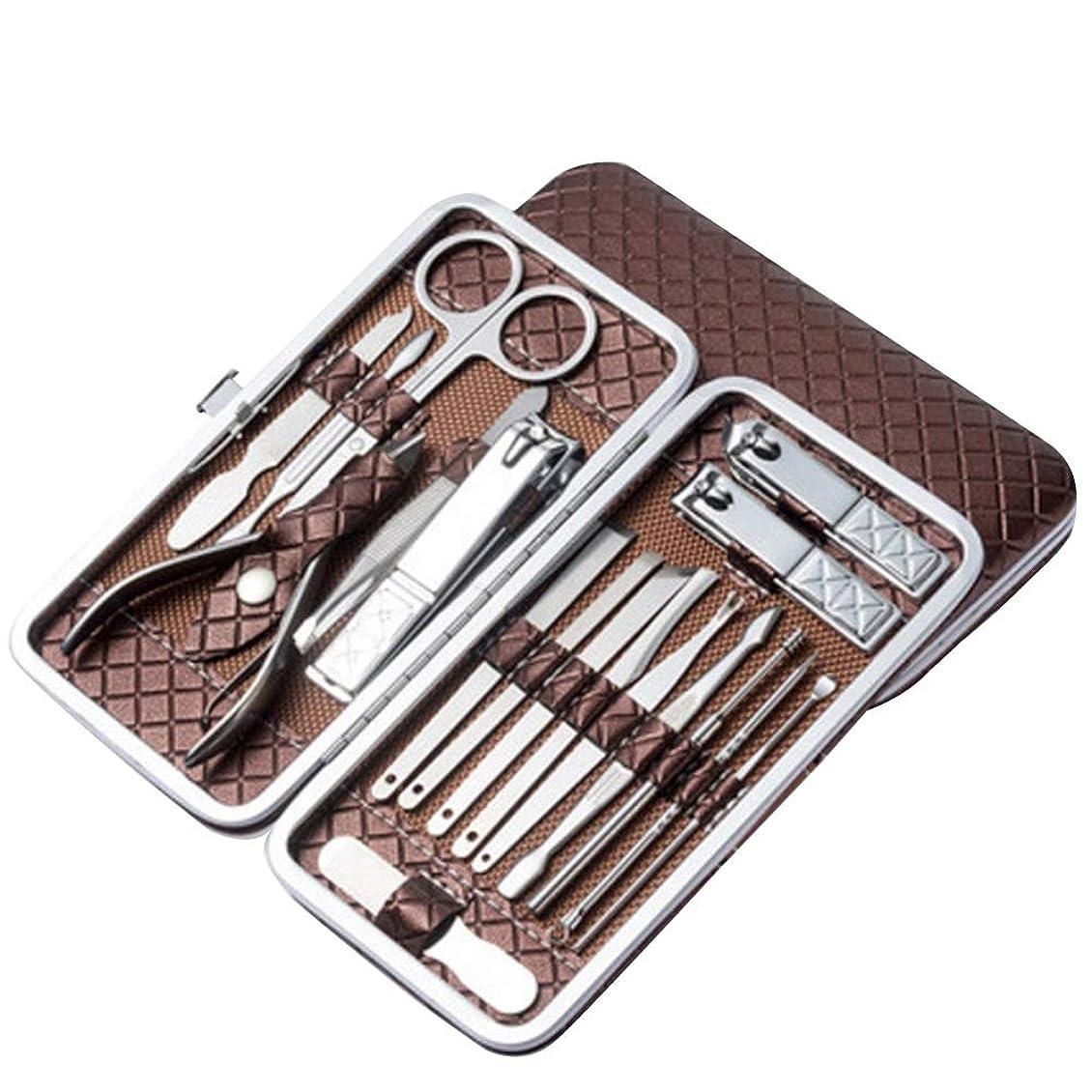 狂信者ドリンクレーザBOZEVON ネイルケア18点セット-多機能ステンレス製爪切りセットグルーミングキット, ブラウン