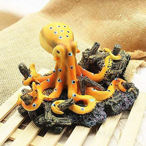 Cakunmik Adornos de decoración de Acuario escénico, simulado Octopus Ornament Aquarium Decorado con Base, decoración de acuarios de Resina naturalmente Resina no tóxica Artesanal decoración doméstica