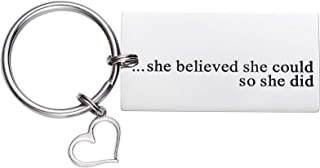 LParkin Women's She Believed Key Chain She Believed She Could So She Did Stainless Steel Keyring