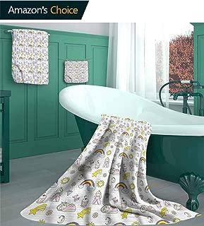 linyangpttowel Sun and Moon 3-Piece Towel Set, Doodle Comet Princess Design Pattern Bathroom Set, Includes 1 Bath Towels, 1 Hand Towels, 1 Washcloths, Ocean Aqua/3 Piece Set - S