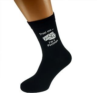 Trust me I'm a Postman & Envelopes Image Design Mens Black Cotton Rich Socks
