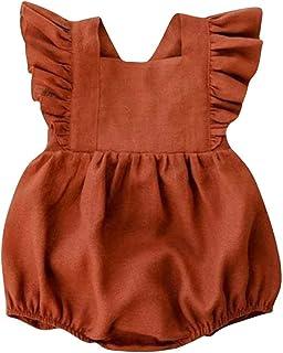 MAISON CASTELLAR Strampler mit Rüschen, gekreuzter Rücken, ärmellos, für Baby, Mädchen, Jungen, Unisex, Body – Overall, Rundhalsausschnitt, leicht und bequem, französische Marke, Farbe Ziegel.