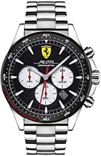 Ferrari Men's Pilota Quartz Stainless Steel and Bracelet Casual Watch, Color: Silver (Model: 830599)
