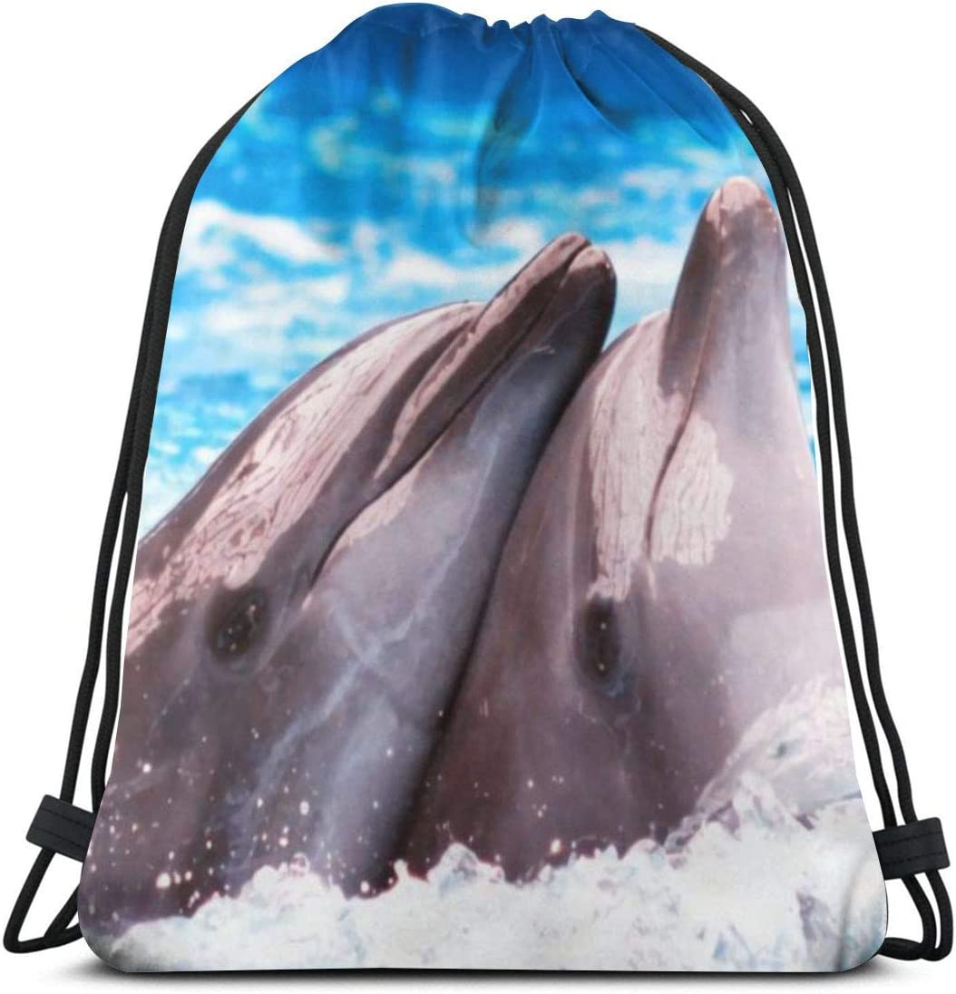 Lovely Dolphin Sea Limited price sale Animal Lightwe Backpack Oklahoma City Mall Waterproof Drawstring