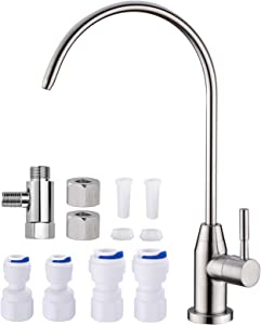 SINKINGDOM Brushed Nickel Drinking Water Faucet Kit for Reverse Osmosis Filtration System,Stainless Steel Lead-Free 304