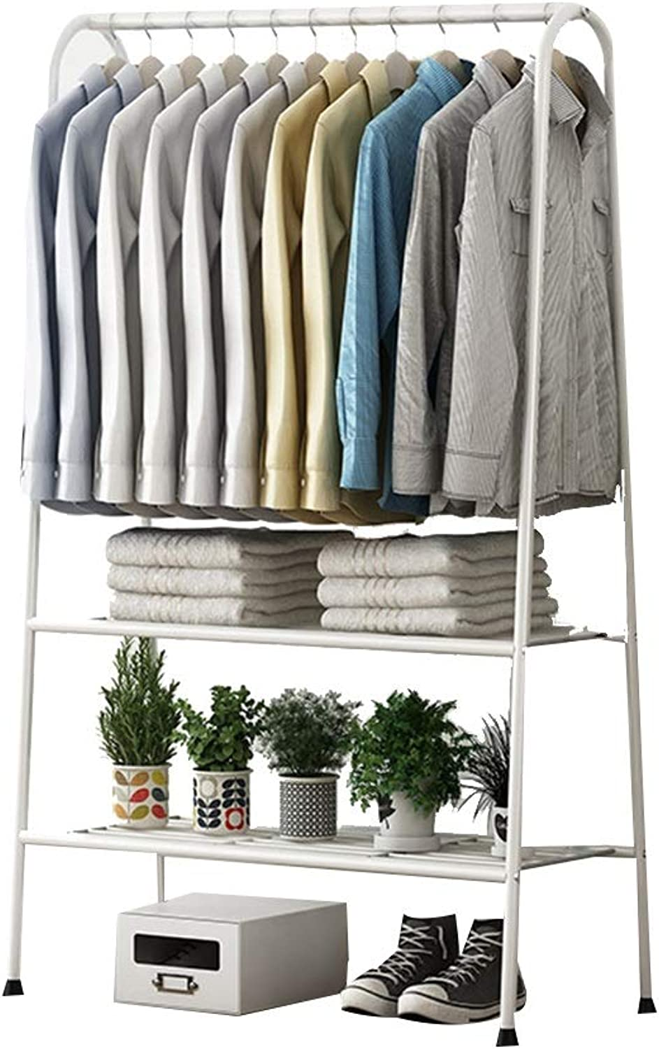 JIAYING Heavy Duty Coat shoes Entryway Rack with 2-Tier shoes Bench Shelves Organizer with Coat Hat Umbrella Rack for Hallway Entryway Metal, Black, White (color   White)