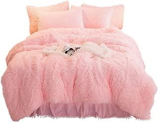 YOUHAM Luxury Faux Fur Bedding Sets Shaggy Plush Duvet Cover Sets Crystal Velvet Reversible Quilted Pillow Shams with Pompoms Fringe, Zipper Closure (Queen, Pink)