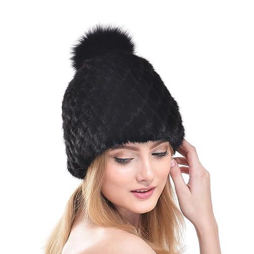 753ec8eeae0 Women Mink Fur Hat - Real Winter Knit Warm Lady Beanie Genuine Fox Fur  Pompom Hats