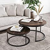 Nathan James Stella Round Modern Nesting Coffee Set of 2, Stacking Living Room...