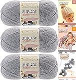 Bernat Softee Baby Yarn 3 Pack Bundle Includes 3 Patterns DK Light Worsted (Flannel)