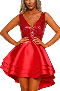 782618090b2 Ancapelion Femmes Robe V-Cou Mini Robe de soirée sans Manches Paillettes  Robes Patineur Courtes